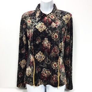 LOVE AMOUR VELVET FLORAL ZIP TOP